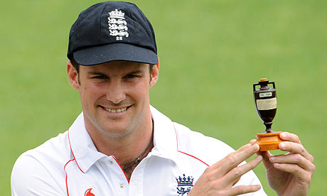 Andrew Strauss poses with the Ashes