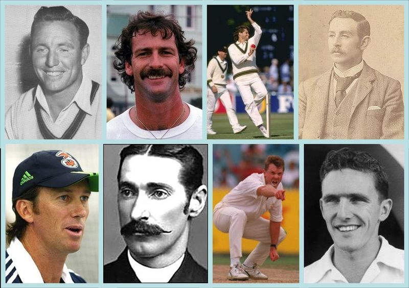 A legion of Aussie quicks_Top l to r - Lindwall,Lillee,Alderman,Turner Bottom - McGrath,Spofforth,McDermott,Davidson