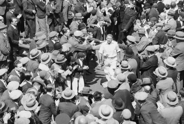Don Bradman walks back after his 334 in the 3rd Test at Headingley in 1930