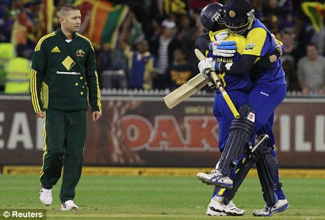 Michael Clarke watches powerless as Mathews and Malinga celebrate a famous victory