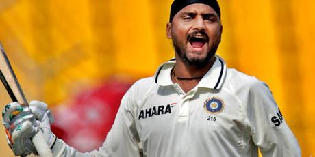 Harbhajan Singh roars with delight after hitting his maiden test hundred