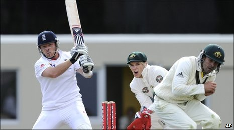 Ian Bell has the Australia A fielders running for cover in Hobart
