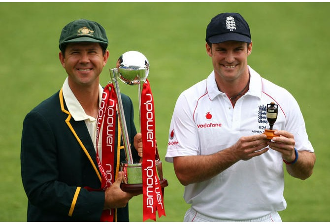 Andrew Strauss and Ricky Ponting - but who will be smiling come Sydney