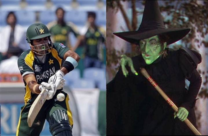 Umar Akmal and his heroine - the Wicked Witch from The Wizard of Oz