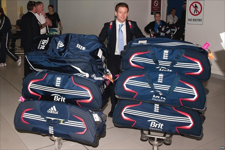 Eoin Morgan guards KP's supply of Brylcreem products for the tour