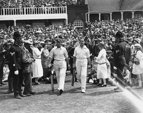 Jack Hobbs and Herbert Sutcliffe walk out at Headingley in 1926 - their brilliance features in two of our classic Ashes Tests
