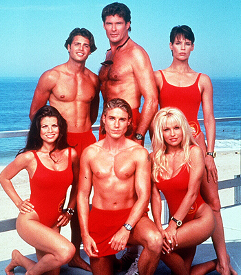 KP's hero The Hoff and his fellow Baywatch stars
