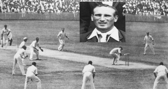 The full leg theory field in the infamous 1932-33 series and inset its chief architect Douglas Jardine