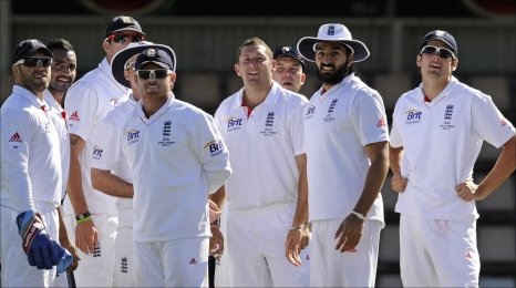 England players look to see what their ratings are for the match with Australia A