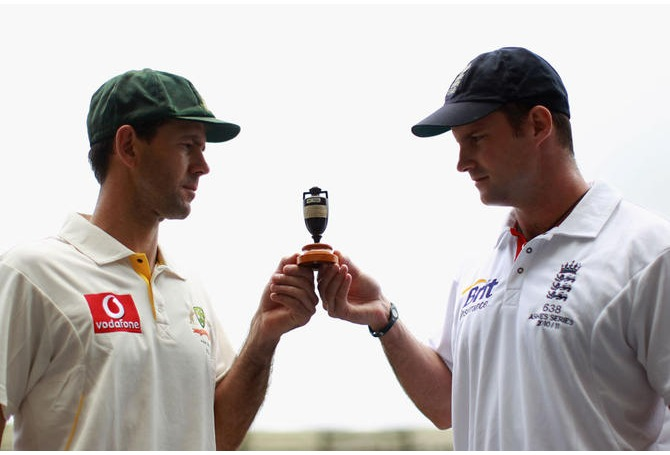 Andrew Strauss and Ricky Ponting pose with the Ashes - but who will be holding the urn come Sydney