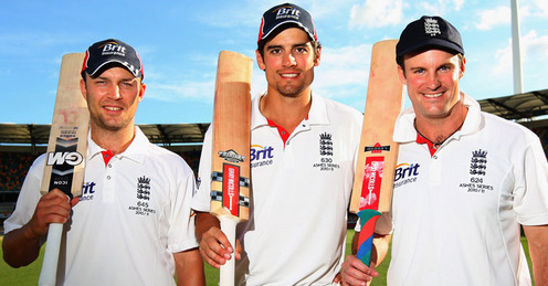 England's three 2nd innings centurions at the Gabba - Trott, Cook and Strauss