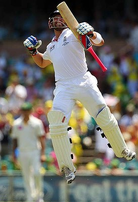 Matt Prior jumps for joy after reaching his first Ashes  hundred on day 4 in Sydney