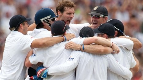 The final moment - Chris Tremlett takes the final wicket and the celebrations begin