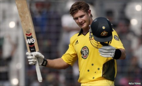 Shane Watson gets the sixes in