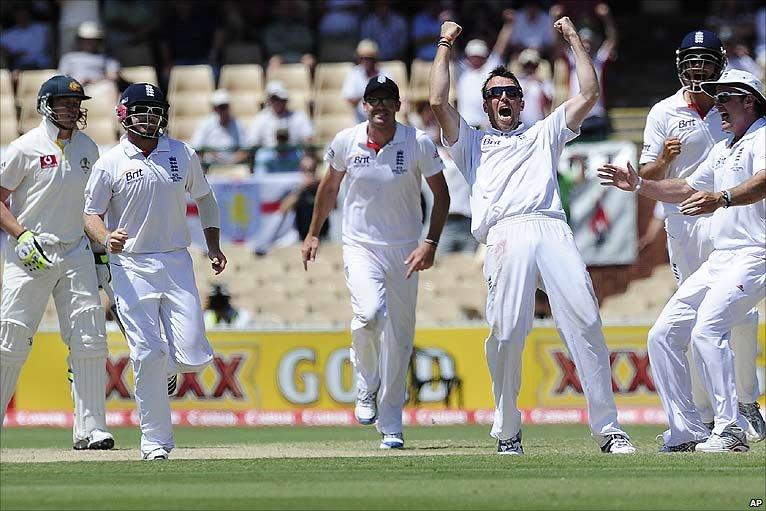 Graeme Swann leads the celebrations as the final Australian wicket falls