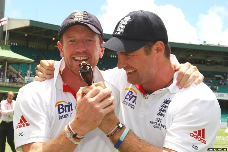 Paul Collingwood - the retiring hero celebrates with Andrew Strauss