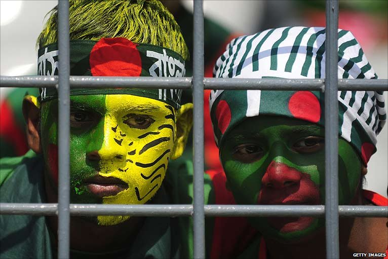 Bangladesh fans can only look on in horror as their side capitulate  against West Indies