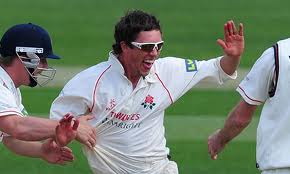 Simon Kerrigan delights his Lancashire team mates with his Jim Laker impersonation against Hampshire