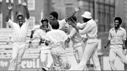 The great West Indian side of the 1970s and 80s celebrates yet another wicket