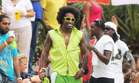 Chris Gayle tries to be inconspicuous at the West India-India Test match at Sabina Park