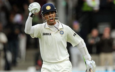 Rahul Dravid celebrates the first of his three hundreds in the Test series this summer