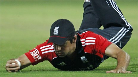 Alastair Cook was down and out in Delhi yesterday