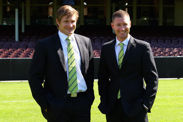 Shane Watson and Michael Clarke - let's hear it for the new happily married couple