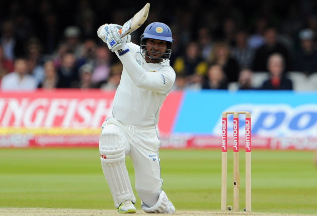 Kumar Sangakkara plays an exquisite cover drive - a rare champagne moment from him in a poor series to date