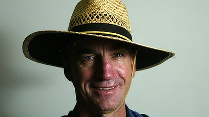 Peter Roebuck in his trademark straw hat
