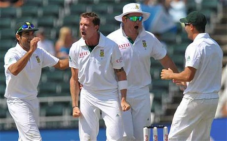 Dale Steyn seems quite happy to have taken the wicket of Ricky Ponting for a duck at The Wanderers in the 2nd Test against Australia