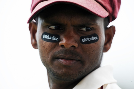Shivnarine Chanderpaul doesn't look too keen to bat at three