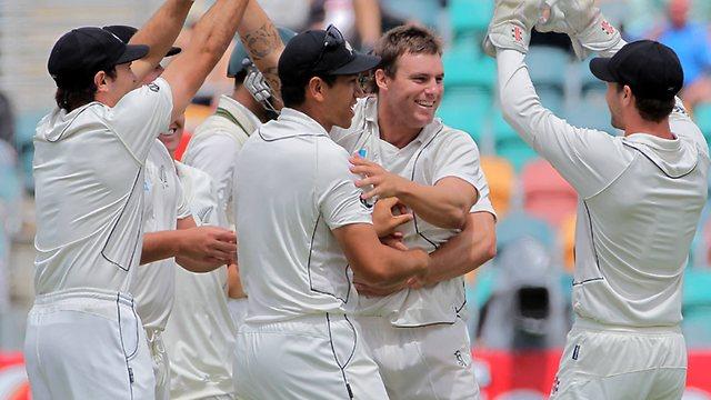 A jubilant New Zealand enjoy their first Test success on Australian soil since 1985