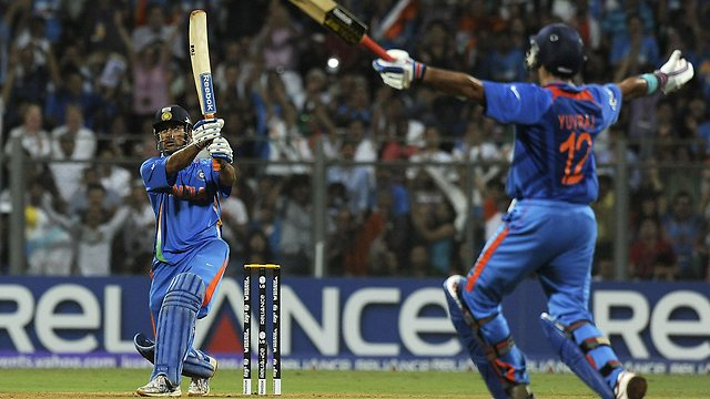MS Dhoni smashes the six that won the World Cup for India