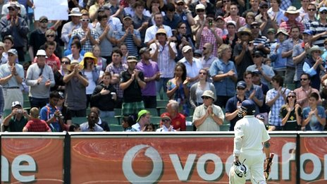 Sachin Tendulkar leaves the crease at the MCG in a Test match for probably the last time