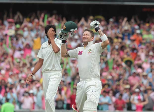 Michael Clarke wishes that he hadn't put his bat down there to celebrate reaching his 300