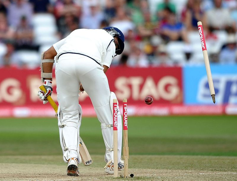 A familiar sight on the cricket grounds of England and Australia as an Indian batsman - this time VVS Laxman - loses his wicket cheaply