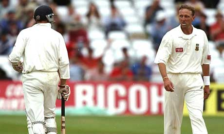 Allan Donald and Michael Atherton exchange pleasantaries at Trent Bridge in 1998